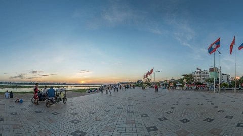 Sunset Time Along The Mekong River in Vientiane, Laos