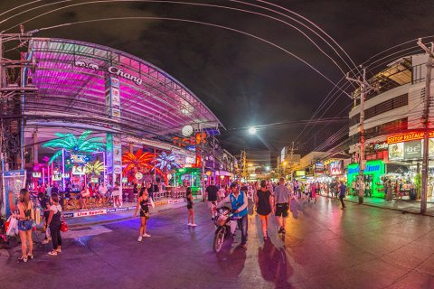Phuket Patong Beach To Bangla Road After Sunset, Thailand