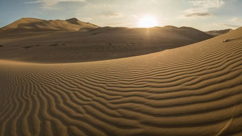 Huacachina Desert Oasis and Giant Sand Dunes near Ica, Peru