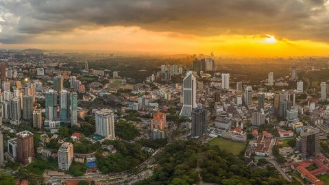 KL Tower – Kuala Lumpur From The Sky At Sunset, Malaysia